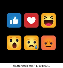 Small funny colorful square icons Facebook Instagram icons