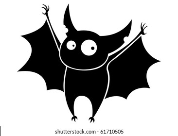 Small funny flying cartoon bat.