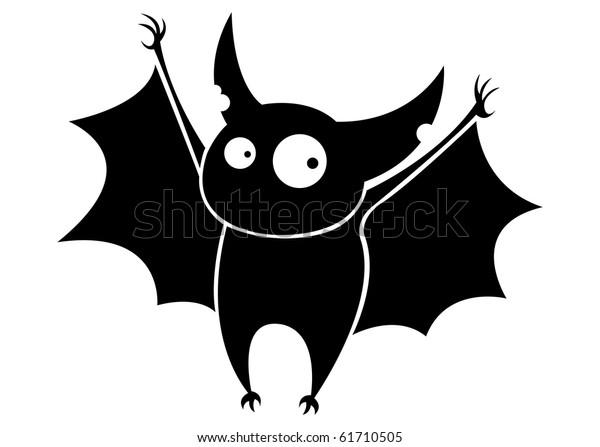Small funny flying cartoon bat.