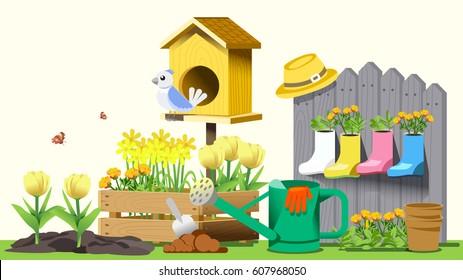 Small garden in back yard. Hello spring. Cute concept style.