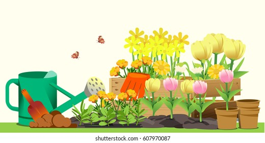 Small garden in back yard. Hello spring. Cute concept style.