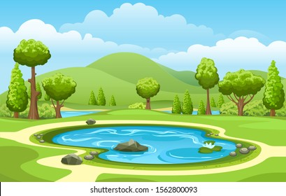 Small garden lake. Isolated cartoon water pond with trees landscape for fishing, spring freshwater forest scenery view