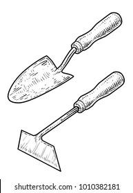 Small garden shovel and hoe illustration, drawing, engraving, ink, line art, vector