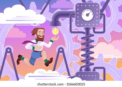 Small Gears Of The Big Economy. Young happy man looking like a hipster, running inside of big gearwheel and activate abstract mechanism realizing payment of coins.