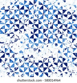 Small geometric abstract mosaic pattern with triangles and simple shapes in blue colors for fall winter fashion. Abstract dynamic retro tiles background. Seamless simple grunge micro vector print