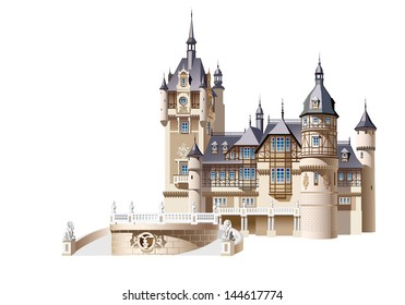 A small German castle on a white background