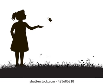 small girl and butterfly, try to catch butterfly,summer garden scene, black and white, white background,shadows
