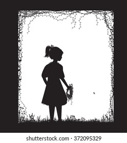 small girl holding the field flower wreath, black and white, childhood memory, vector