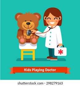 Small girl playing a doctor with plush teddy bear toy. Kid examining patient. Flat style vector illustration isolated on cyan background.