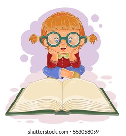 Small girl reading a book