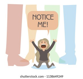"""small girl  is stands on her knees and screams """"notice me!"""" among giant legs. concept illustration of  indifference and ignore, problem of little invisible person. woman needs attention."""