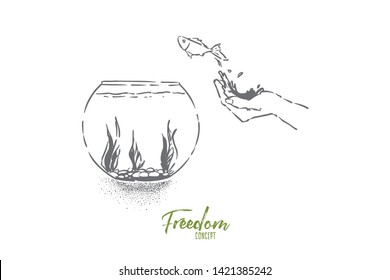 Small goldfish jumping in fishbowl, hand let fish go, domestic pet leap in glass aquarium with seaweed. Opportunity metaphor, freedom, liberty illusion concept sketch. Hand drawn vector illustration