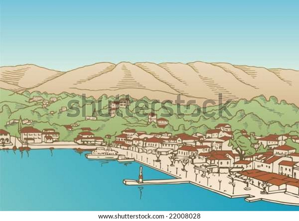 Small Greek village by the sea