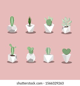 Small green cactus in the small geometric pot shape ,many pot desing.