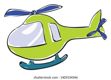 A small green helicopter with skid, anti-torque tail rotor, and rotor blade in blue color, used for transporting people, freight or other supplies, vector, color drawing or illustration.
