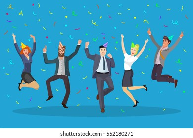 small group of business people jumping happy with confetti and fun cones