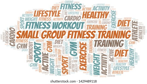 Small Group Fitness Training word cloud. Wordcloud made with text only.