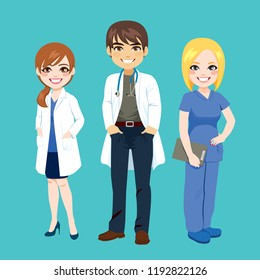 Small group of hospital medical team doctors nurse and surgeon standing smiling on green background