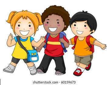 A Small Group of Kids Going to School - Vector