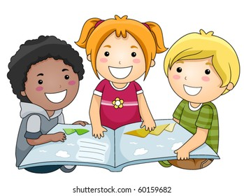 A Small Group of Kids Holding an Open Book - Vector