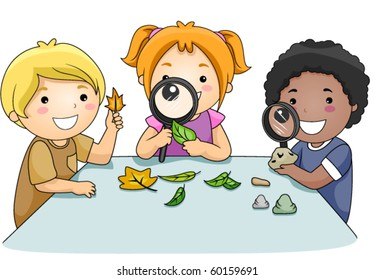 A Small Group of Kids Inspecting Leaves Through Magnifying Lenses - Vector