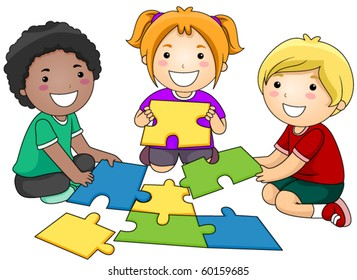 Small Group of Kids Re-constructing a Jigsaw Puzzle - Vector