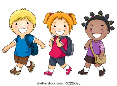 A Small Group of Kids Walking to School - Vector