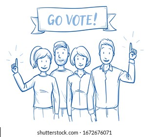 Small group of mixed adult people, some raising hands, concept for voting survey and election. With go vote promotion sign. Hand drawn blue outline line art cartoon vector illustration.