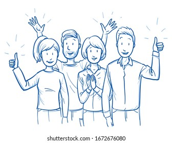 Small group of mixed people, looking happy and satisfied, cheering and clapping hands. Hand drawn blue outline line art cartoon vector illustration.