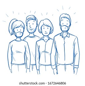 Small group of mixed people, with respirator masks looking worried or afraid. Concept for infection prevention an corona crisis. Hand drawn blue outline line art cartoon vector illustration.