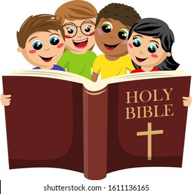 small group of multicultural kids reading the holy bible book isolated on white