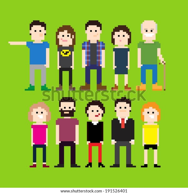 Small group of pixel art people