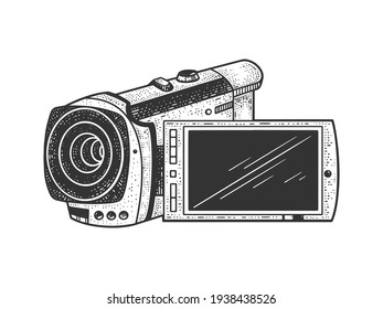 Small hand held camcorder sketch engraving vector illustration. T-shirt apparel print design. Scratch board imitation. Black and white hand drawn image.