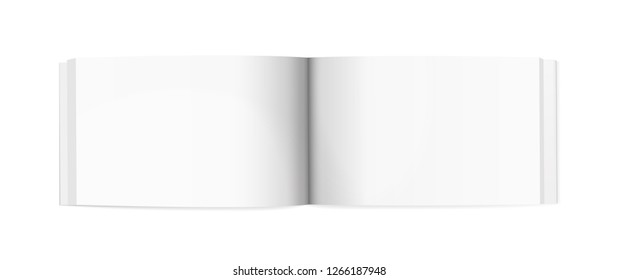 Small horizontal empty notepad mockup. Vector illustration. White spread template isolated on white background. Backdrop image for education, business, market, promotional and advertising materials.