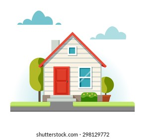 Small house and the adjacent street. Vector illustration in flat style.