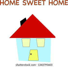 Small house illustration on white, vector