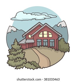 Small house in the mountains, color image on a white background.