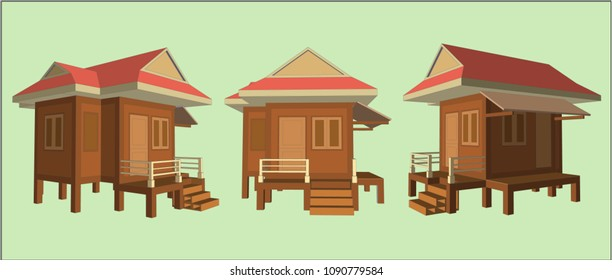 Small House Perspective Vector & Illustration, image 1