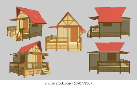 Small House Perspective Vector & Illustration, image 2