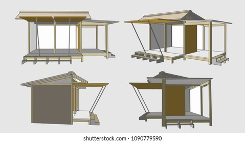 Small House Perspective Vector & Illustration, image 4