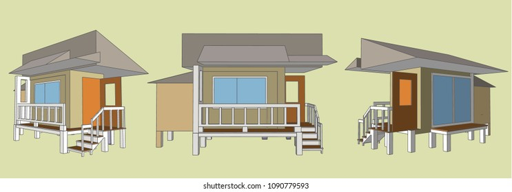 Small House Perspective Vector & Illustration, image 7