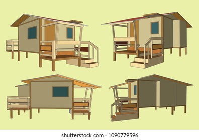 Small House Perspective Vector & Illustration, image 10