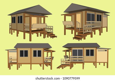 Small House Perspective Vector & Illustration, image 9