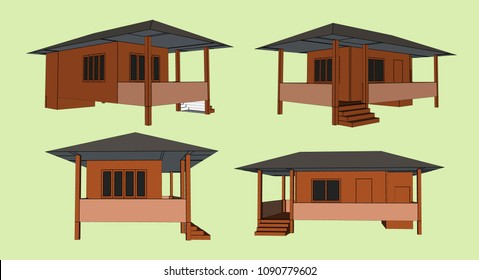 Small House Perspective Vector & Illustration, image 6