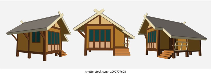 Small House Perspective Vector & Illustration, image 3