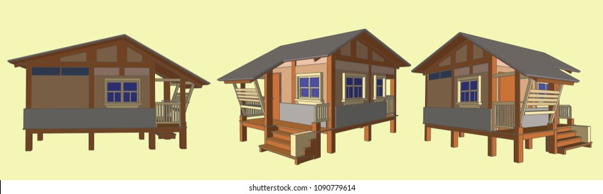 Small House Perspective Vector & Illustration, image 11
