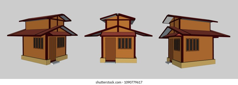 Small House Perspective Vector & Illustration, image 13