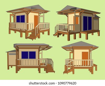 Small House Perspective Vector & Illustration, image 12