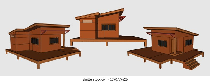 Small House Perspective Vector & Illustration, image 5