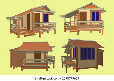 Small House Perspective Vector & Illustration, image 8